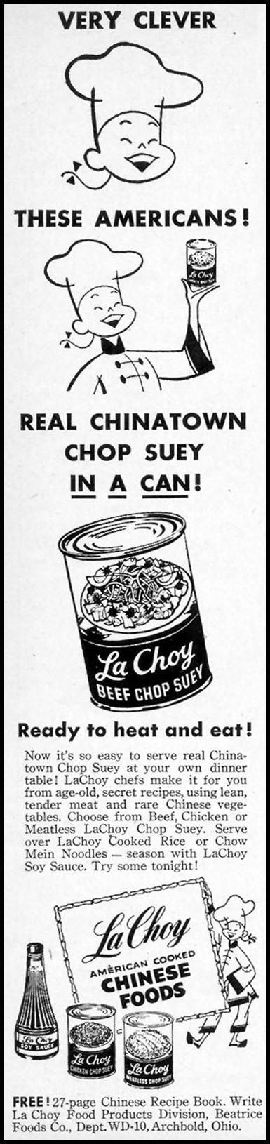 LA CHOY AMERICAN-COOKED CHINESE FOODS WOMAN'S DAY 10/01/1954 p. 138