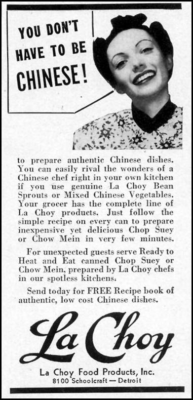 LA CHOY CHINESE FOODS WOMAN'S DAY 11/01/1940 p. 65