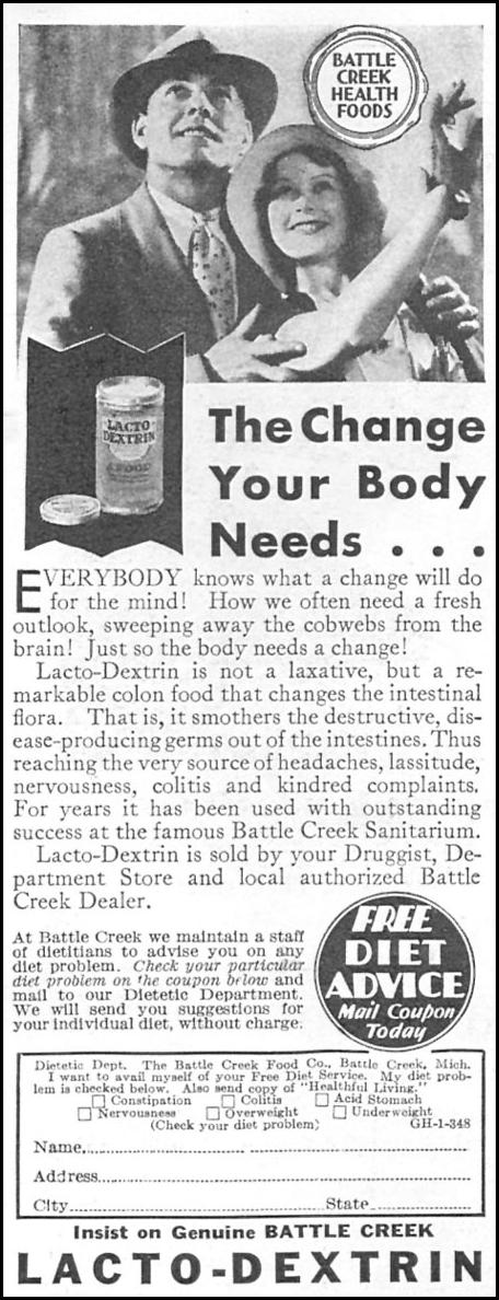 BATTLE CREEK LACTO-DEXTRIN GOOD HOUSEKEEPING 01/01/1932 p. 158