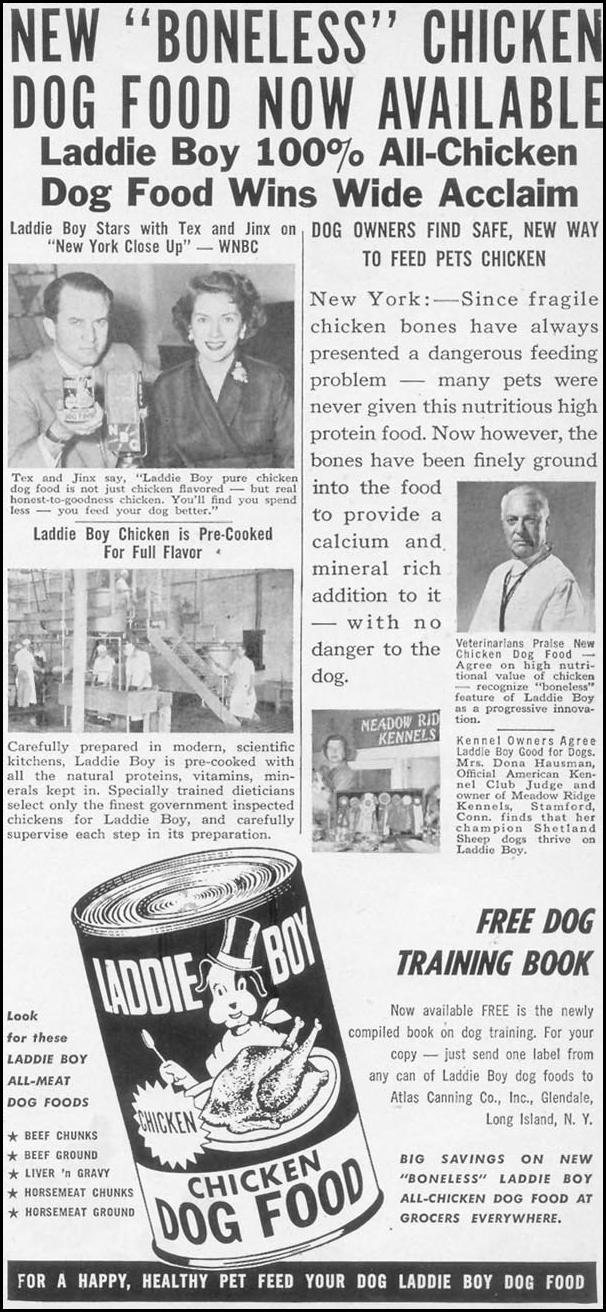 LADDIE BOY DOG FOOD WOMAN'S DAY 10/01/1954 p. 181