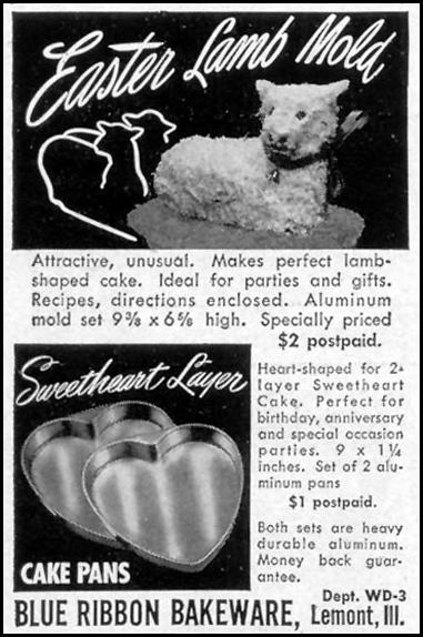 EASTER LAMB CAKE MOLD WOMAN'S DAY 03/01/1949 p. 128
