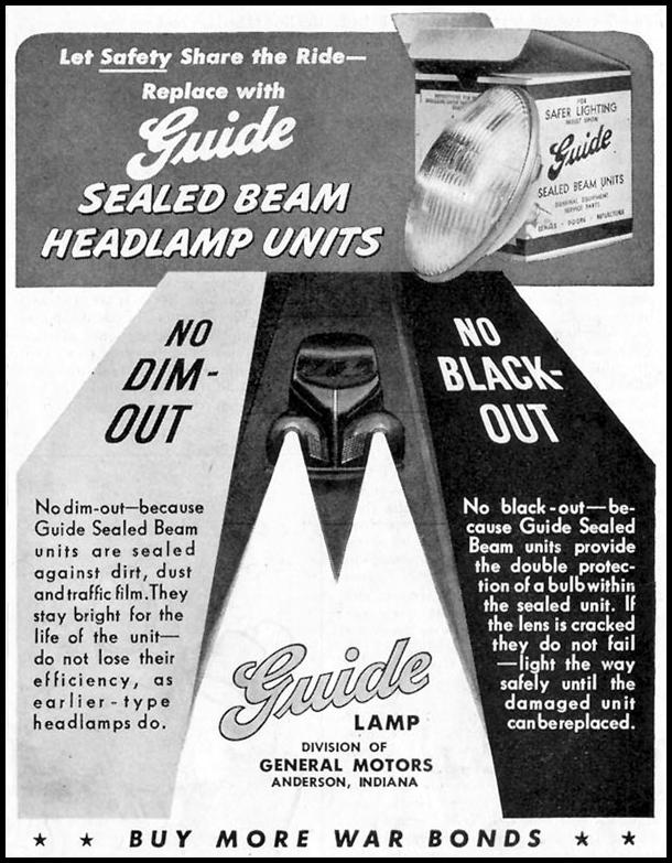 GUIDE SEALED BEAM HEADLAMPS SATURDAY EVENING POST 05/19/1945 p. 105