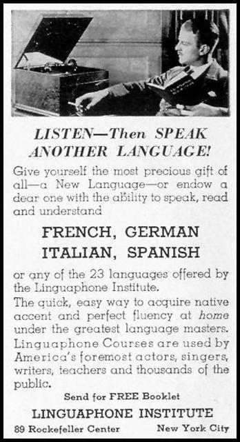 LINGUAPHONE LANGUAGE COURSES LIFE 09/20/1937 p. 110