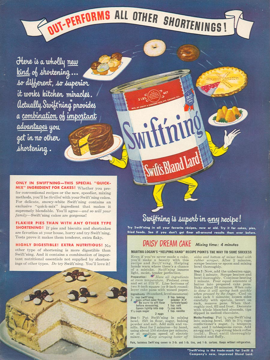 SWIFT'S SWIFT'NING BLAND LARD WOMAN'S DAY 03/01/1948 INSIDE BACK