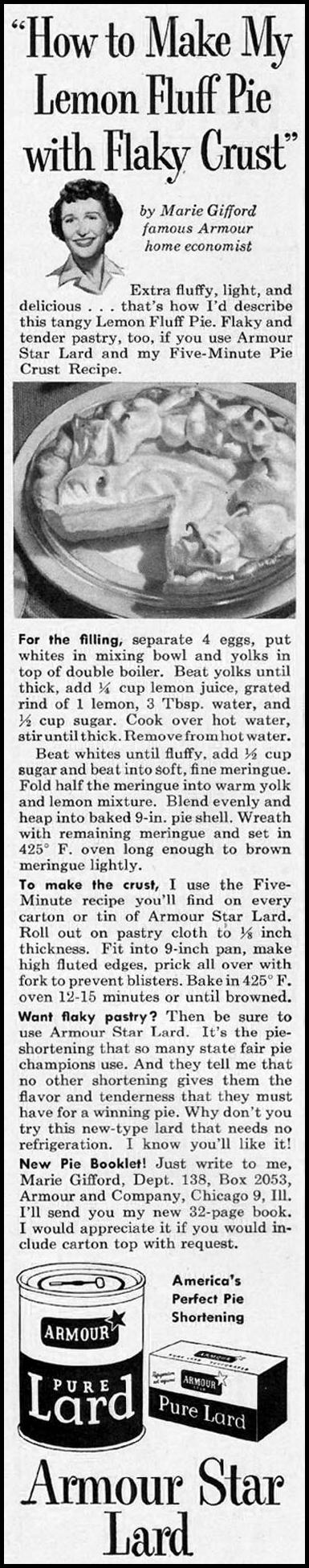 ARMOUR STAR LARD LADIES' HOME JOURNAL 03/01/1954 p. 145