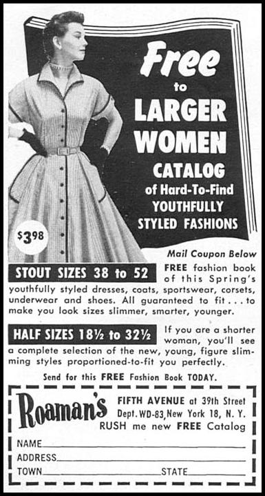 FASHION CATALOG FOR LARGER WOMEN WOMAN'S DAY 02/01/1954 p. 162