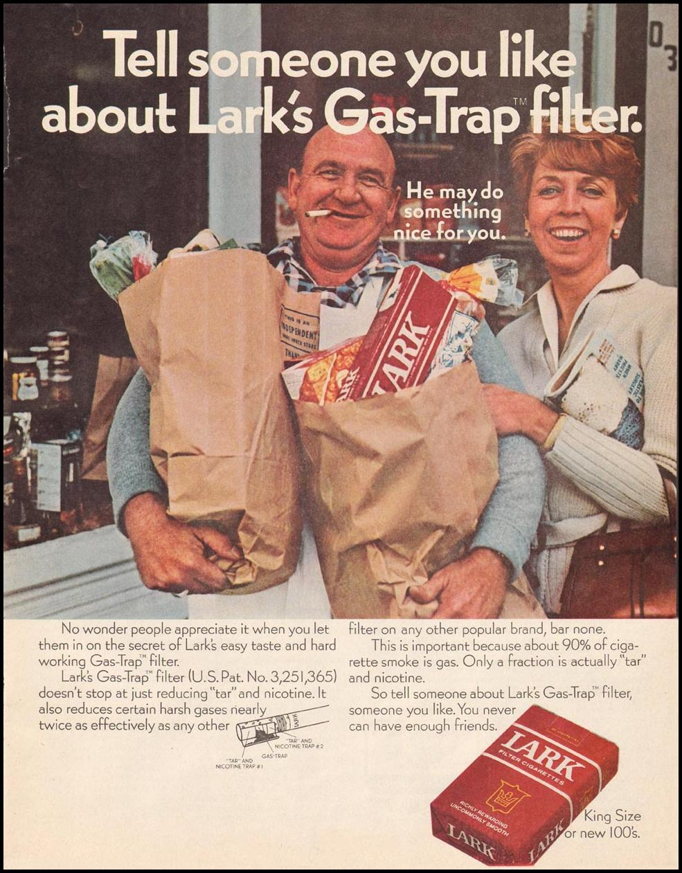 LARK CIGARETTES SATURDAY EVENING POST 01/25/1969 p. 51