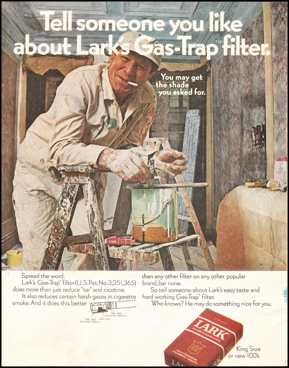 LARK CIGARETTES SATURDAY EVENING POST 02/08/1969 INSIDE FRONT