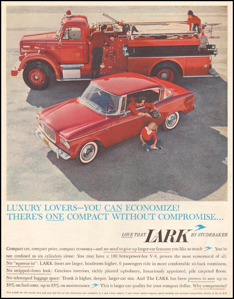 LARK AUTOMOBILES SATURDAY EVENING POST 06/11/1960 p. 24
