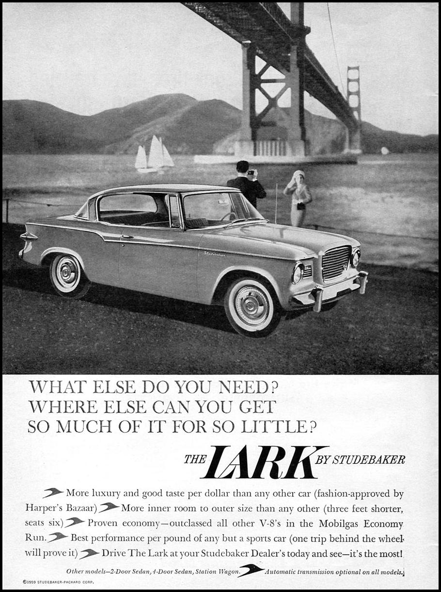 LARK AUTOMOBILES SPORTS ILLUSTRATED 05/25/1959 p. 2
