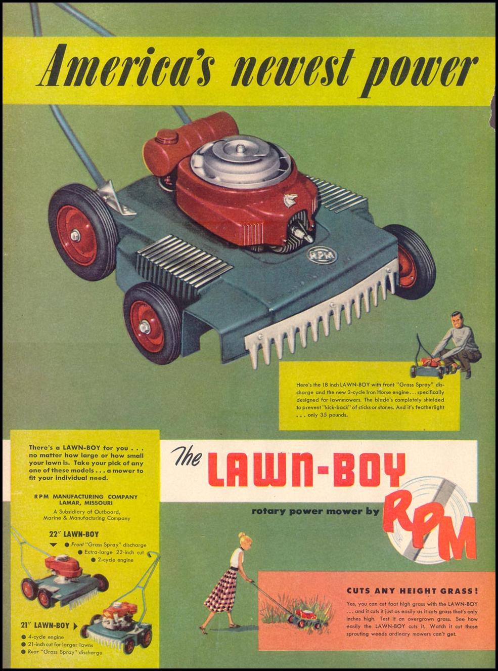 LAWN-BOY LAWN MOWER LIFE 04/13/1953 p. 68