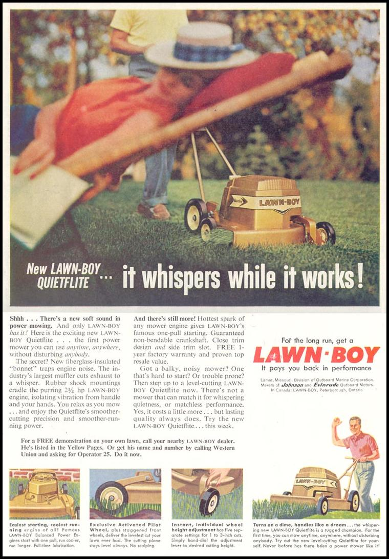 LAWN-BOY QUIETFLITE LAWN MOWER SATURDAY EVENING POST 05/02/1959 p. 114
