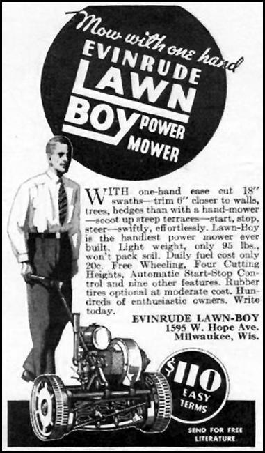 EVINRUDE LAWN-BOY POWER MOWER BETTER HOMES AND GARDENS 05/01/1936 p. 120