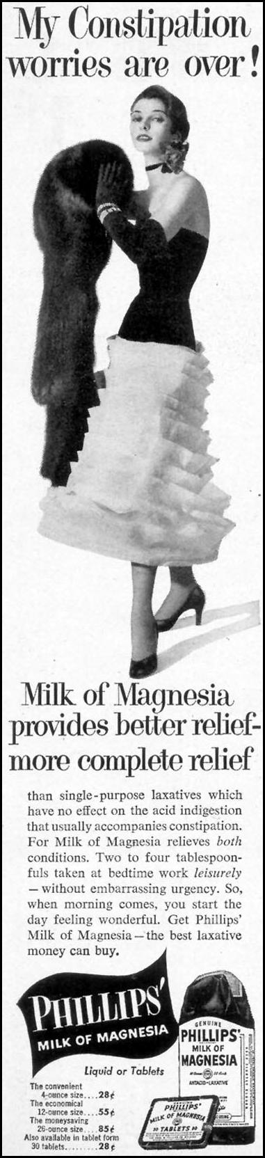 PHILLIPS' MILK OF MAGNESIA WOMAN'S DAY 03/01/1954 p. 130