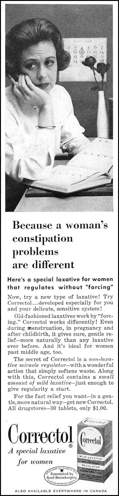 CORRECTOL LAXATIVE WOMAN'S DAY 06/01/1958 p. 87