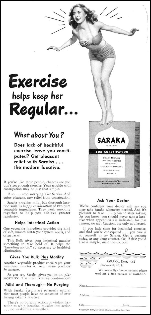 SARAKA LAXATIVE WOMAN'S DAY 07/01/1946 p. 65