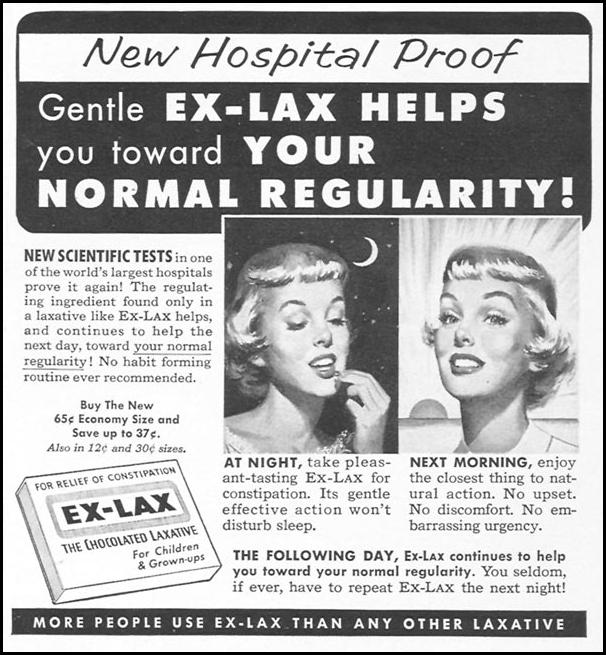 EX-LAX CHOCOLATED LAXATIVE WOMAN'S DAY 09/01/1955 p. 127