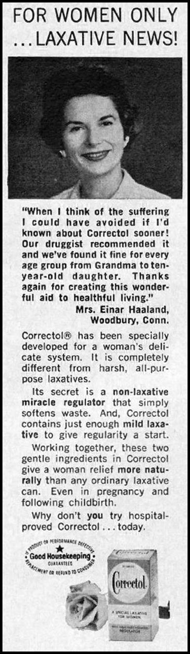 CORRECTOL LAXATIVE GOOD HOUSEKEEPING 10/01/1965 p. 275