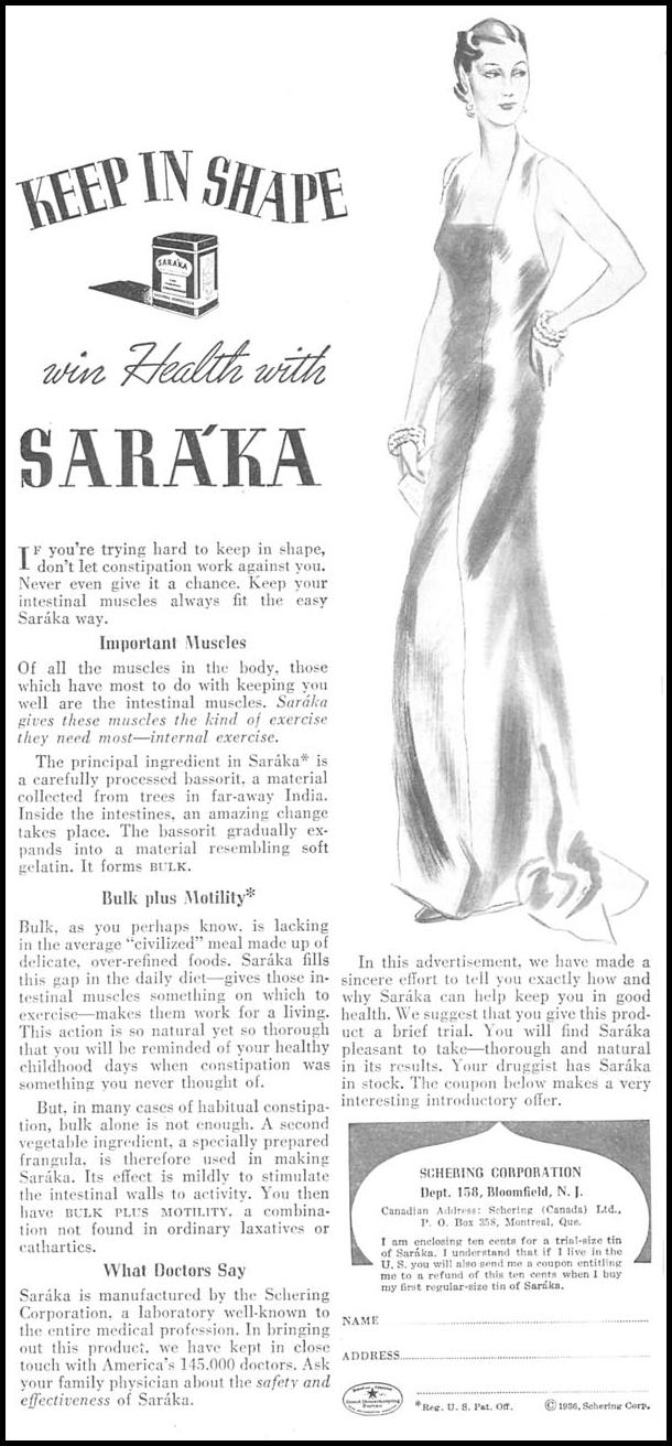SARAKA LAXATIVE GOOD HOUSEKEEPING 04/01/1936 p. 182