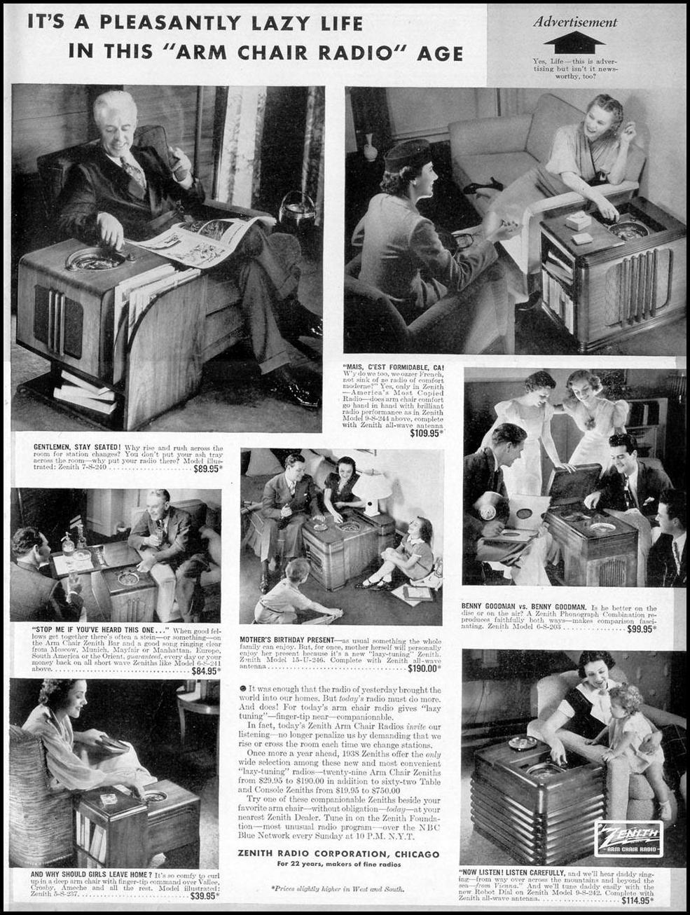ZENITH RADIOS LIFE 09/20/1937