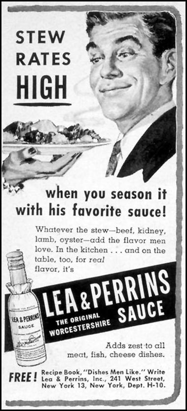 LEA & PERRINS SAUCE WOMAN'S DAY 10/01/1954 p. 189