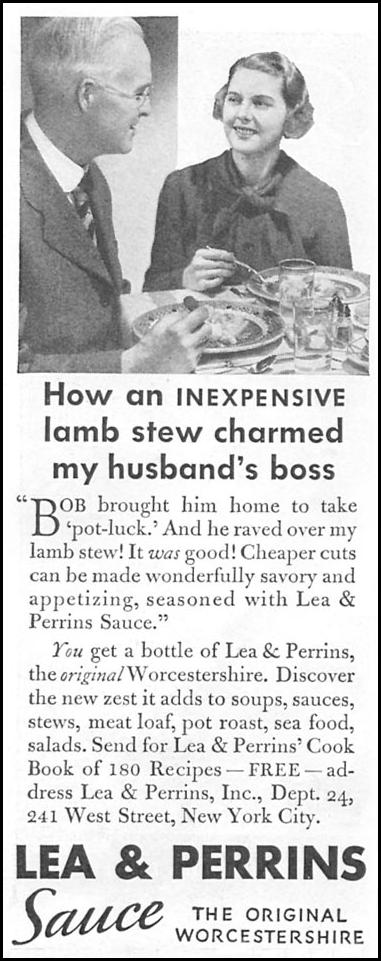 LEA & PERRINS SAUCE GOOD HOUSEKEEPING 04/01/1936 p. 238