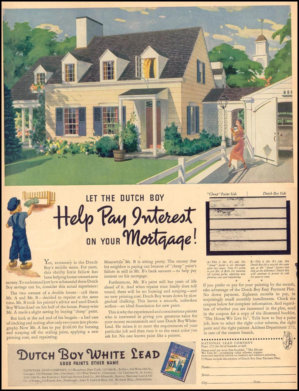 DUTCH BOY HOUSE PAINT LIFE 09/13/1937