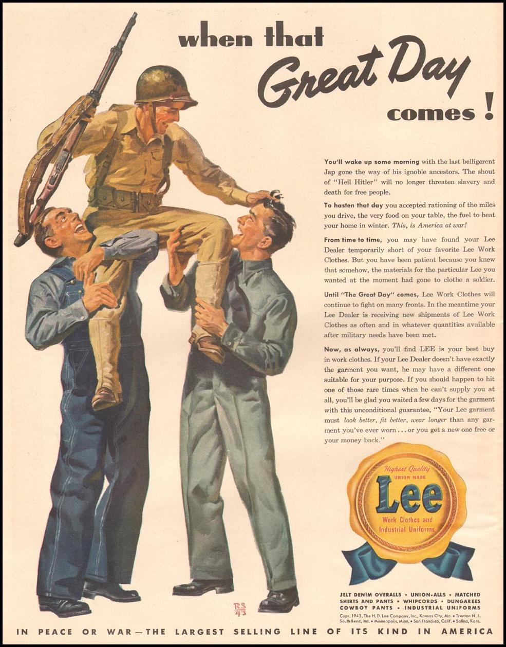 LEE WORK CLOTHES AND INDUSTRIAL UNIFORMS LIFE 10/11/1943 p. 116