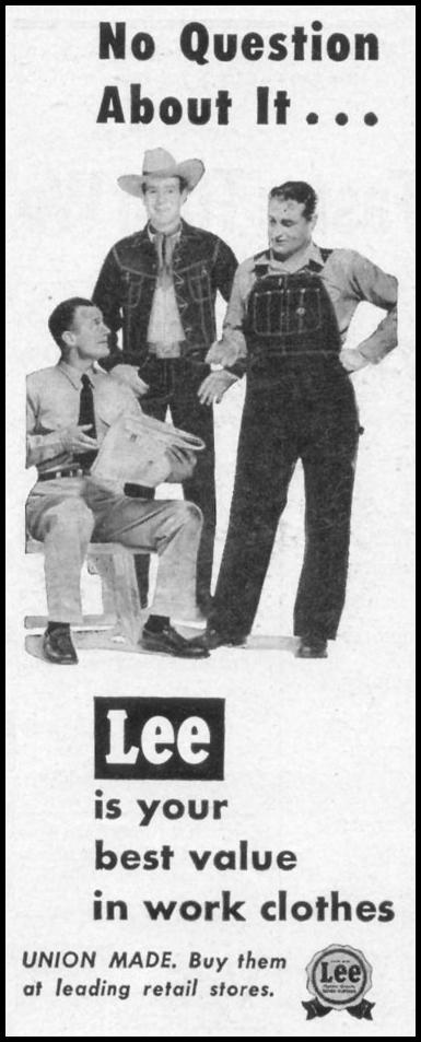 LEE WORK CLOTHES LIFE 10/13/1952 p. 132