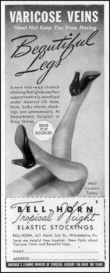 BELL-HORN TROPICAL WEIGHT ELASTIC STOCKINGS LIFE 11/08/1943 p. 131