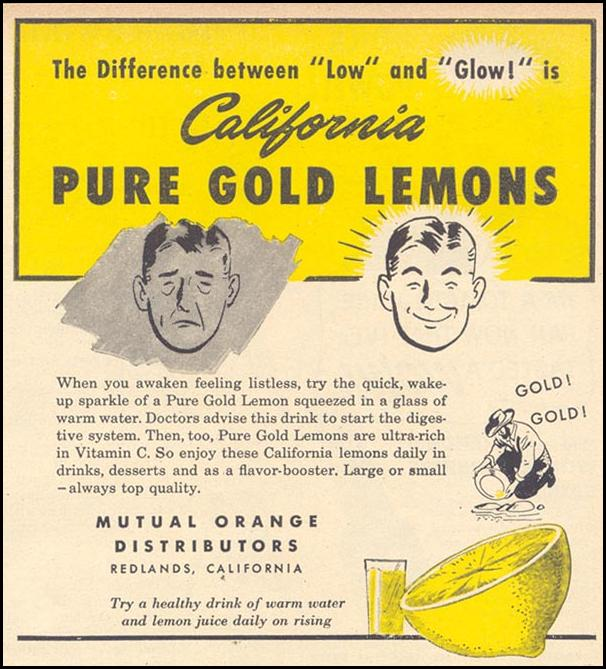 CALIFORNIA PURE GOLD LEMONS WOMAN'S DAY 07/01/1946 p. 71