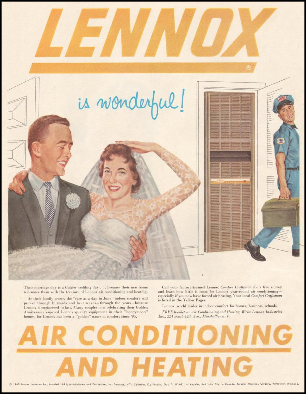 LENNOX AIR CONDITIONING AND HEATING SATURDAY EVENING POST 06/11/1960 p. 20