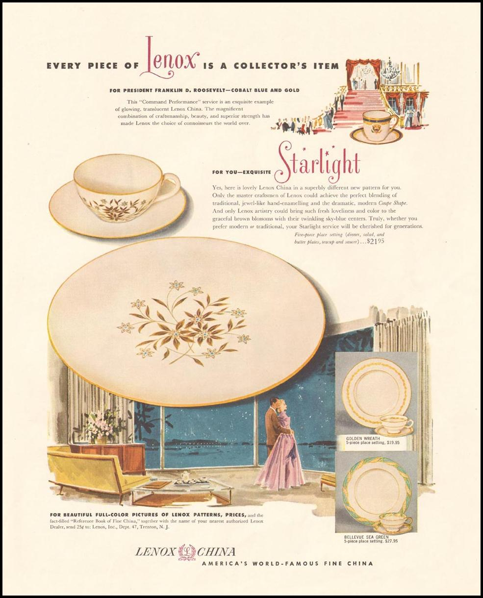 LENOX CHINA LADIES' HOME JOURNAL 03/01/1954 p. 127