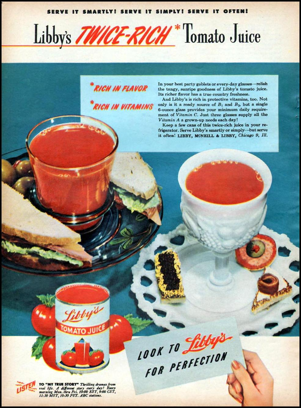 LIBBY'S TOMATO JUICE WOMAN'S DAY 01/01/1947 p. 20