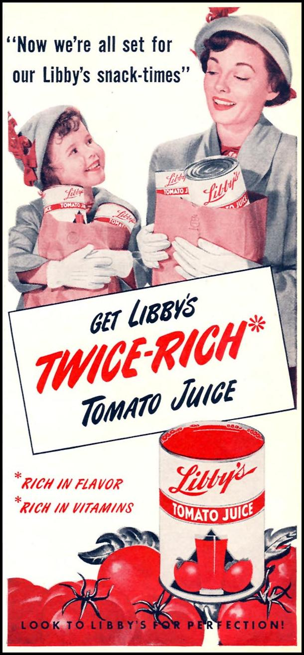 LIBBY'S TOMATO JUICE WOMAN'S DAY 02/01/1954 p. 135