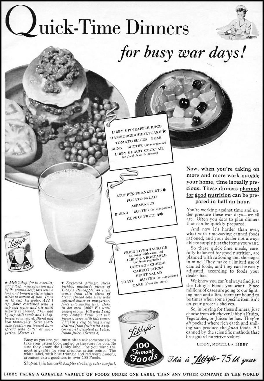 LIBBY CANNED FOODS WOMAN'S DAY 06/01/1943 p. 71