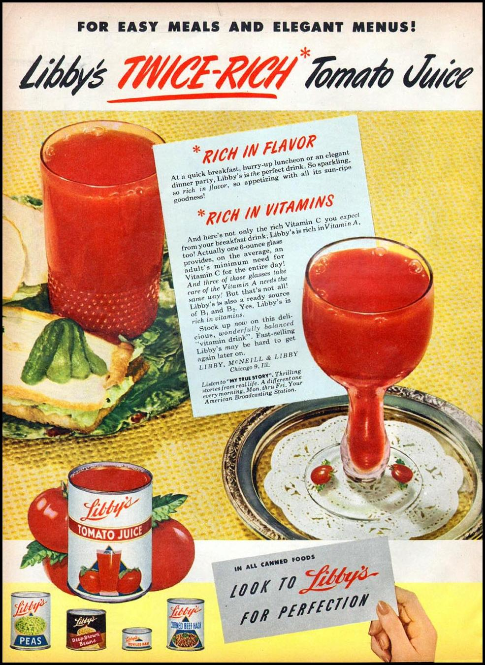 LIBBY'S TOMATO JUICE WOMAN'S DAY 06/01/1947 p. 64