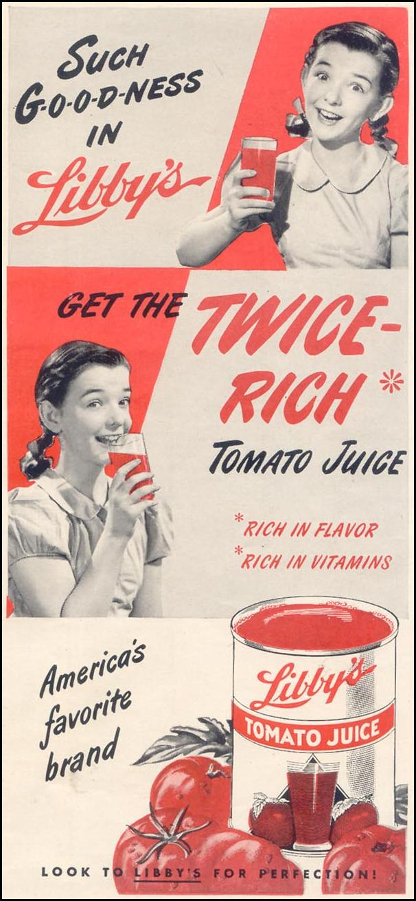 LIBBY'S TOMATO JUICE GOOD HOUSEKEEPING 07/01/1949 p. 143