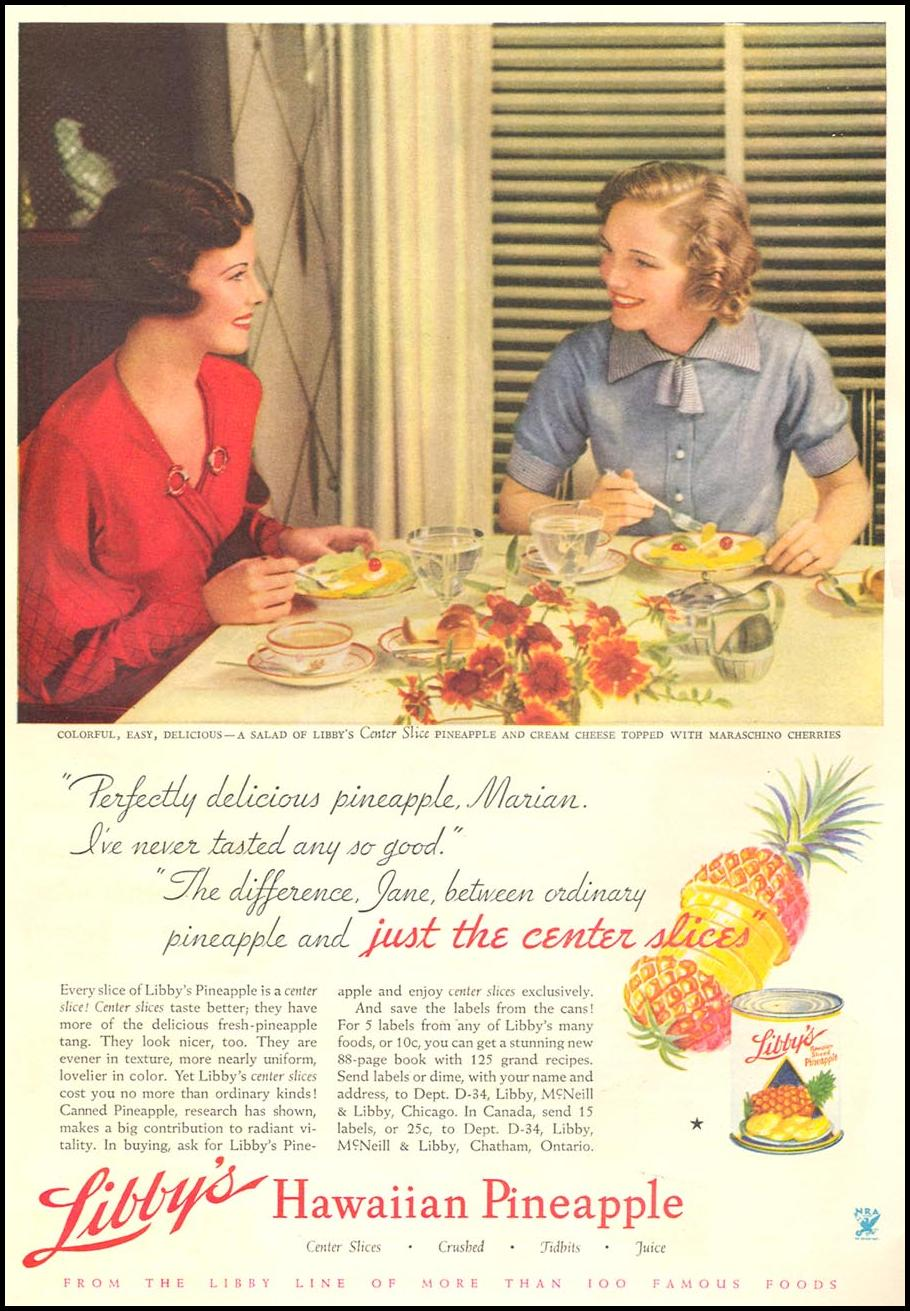 LIBBY'S HAWAIIAN PINEAPPLE GOOD HOUSEKEEPING 12/01/1934