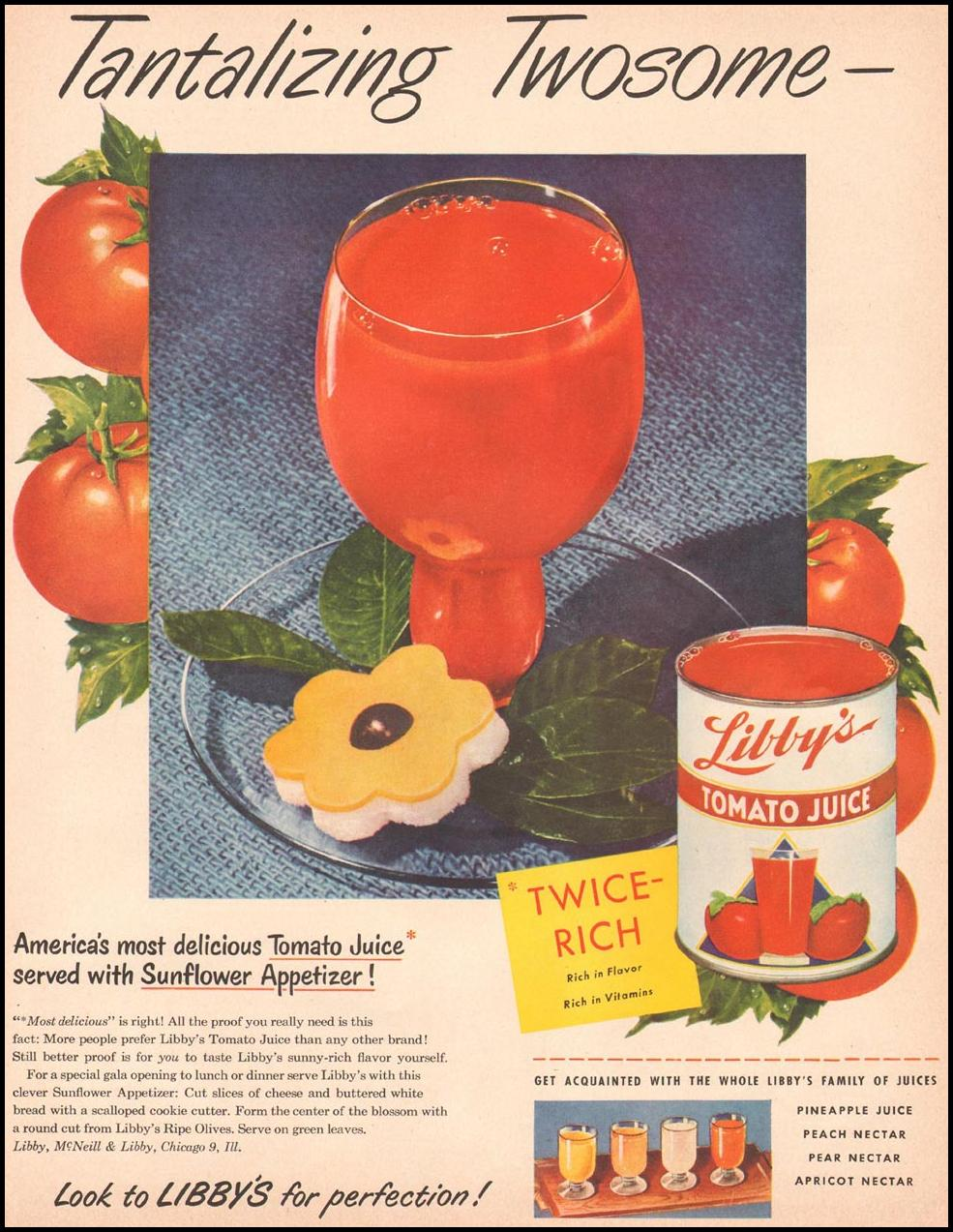 LIBBY'S TOMATO JUICE LADIES' HOME JOURNAL 11/01/1950 p. 81