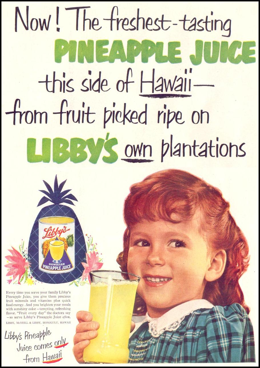 LIBBY'S PINEAPPLE JUICE LIFE 06/16/1952 p. 80