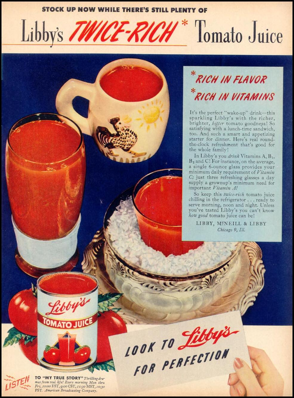 LIBBY'S TWICE-RICH TOMATO JUICE WOMAN'S DAY 02/01/1947 p. 85