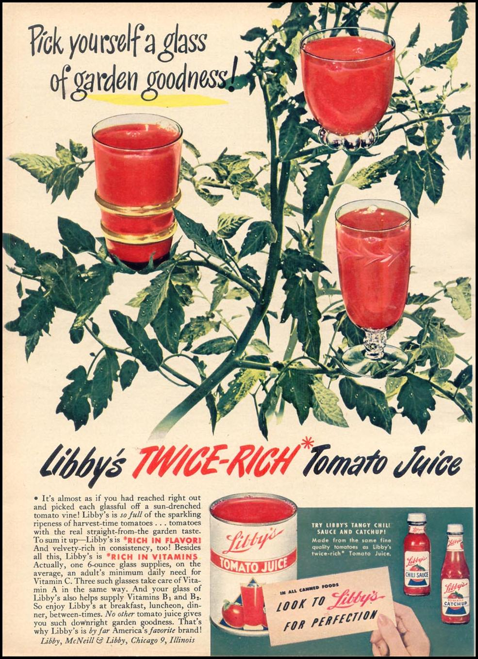 LIBBY'S TWICE-RICH TOMATO JUICE WOMAN'S DAY 10/01/1948 p. 104