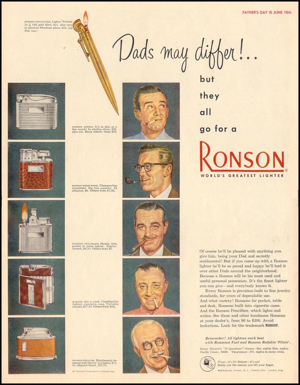 RONSON CIGARETTE LIGHTERS LIFE 06/05/1950 p. 50