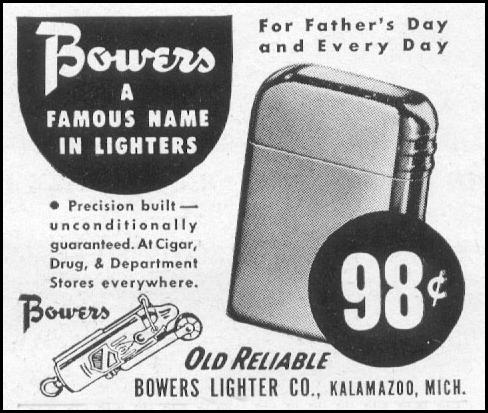 BOWERS OLD RELIABLE CIGARETTE LIGHTER LIFE 06/05/1950 p. 122