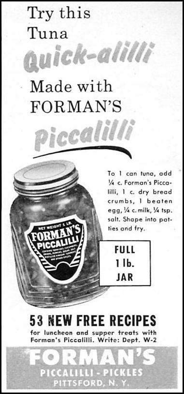 FORMAN'S PICCALILLI WOMAN'S DAY 02/01/1954 p. 160