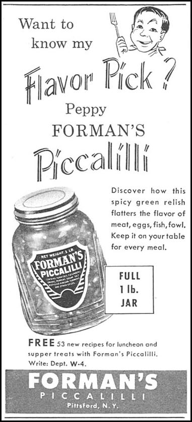 FORMAN'S PICCALILLI WOMAN'S DAY 04/01/1956 p. 128