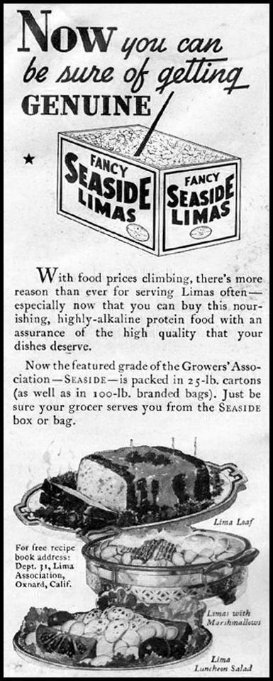 CALIFORNIA LIMA BEANS GOOD HOUSEKEEPING 12/01/1935 p. 186