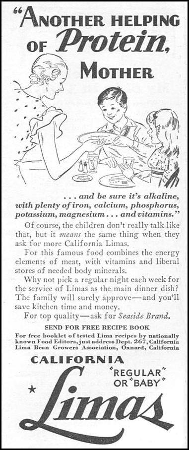 CALIFORNIA LIMA BEANS GOOD HOUSEKEEPING 12/01/1933 p. 181
