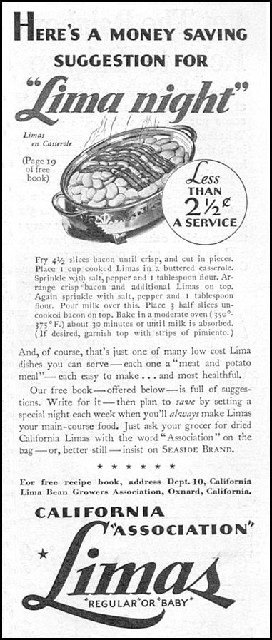 CALIFORNIA LIMA BEANS GOOD HOUSEKEEPING 12/01/1934 p. 199